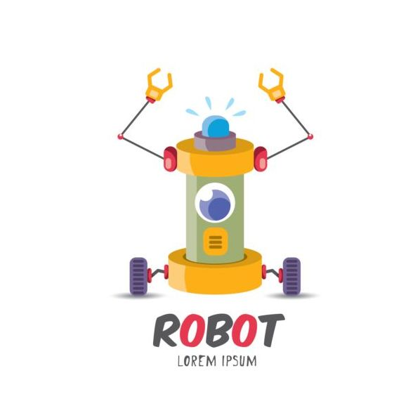 Funny robot cartoon vectors set 01
