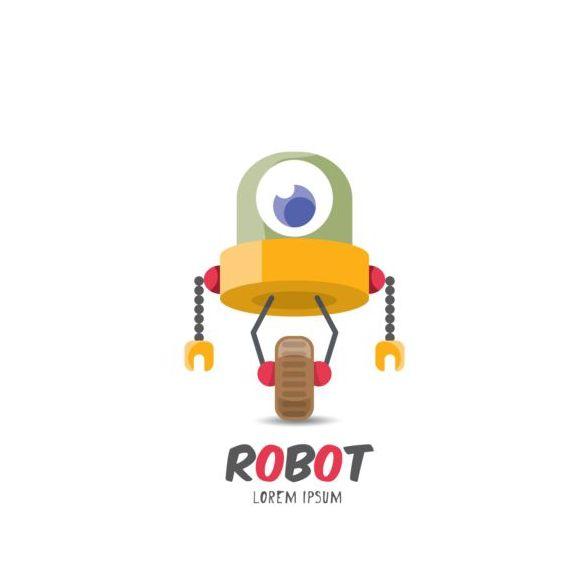 Funny robot cartoon vectors set 02