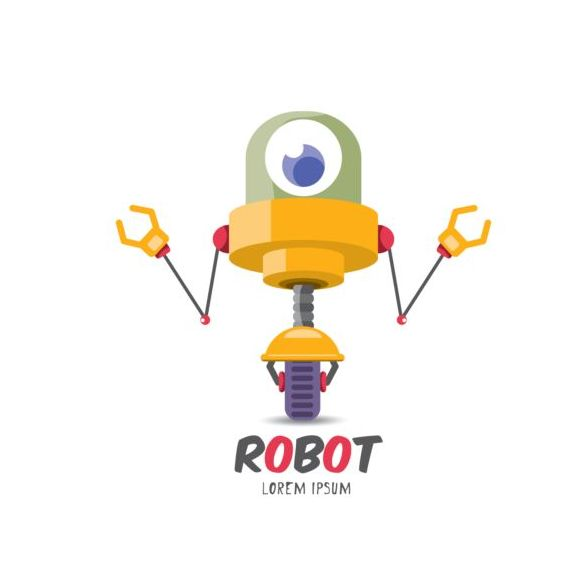 Funny robot cartoon vectors set 03