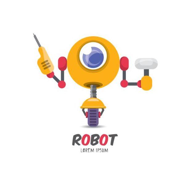 Funny robot cartoon vectors set 04