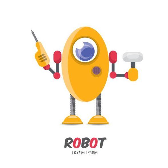 Funny robot cartoon vectors set 05