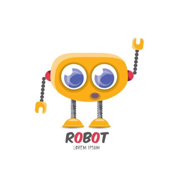 Funny robot cartoon vectors set 06