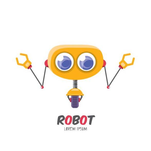 Funny robot cartoon vectors set 07