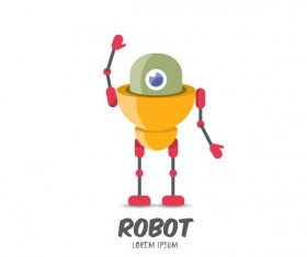 Funny robot cartoon vectors set 08