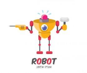 Funny robot cartoon vectors set 09