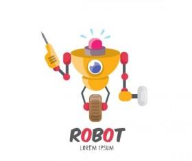 Funny robot cartoon vectors set 10