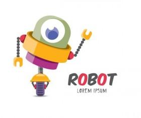 Funny robot cartoon vectors set 11