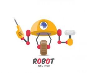 Funny robot cartoon vectors set 12