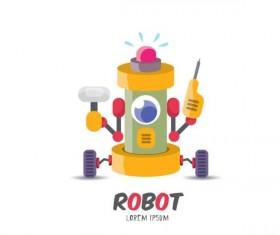 Funny robot cartoon vectors set 13
