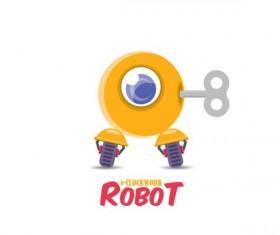 Funny robot cartoon vectors set 16