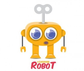 Funny robot cartoon vectors set 17