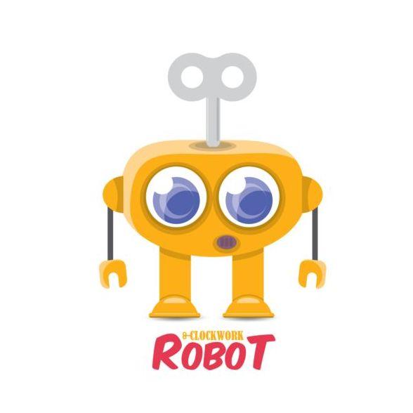Funny robot cartoon vectors set 17