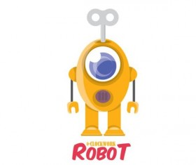 Funny robot cartoon vectors set 18