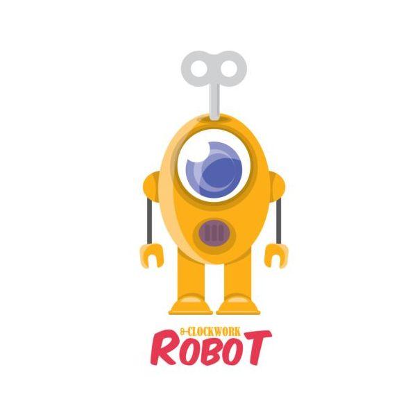 Funny robot cartoon vectors set 18