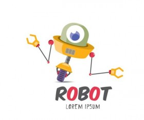 Funny robot cartoon vectors set 19