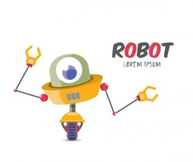 Funny robot cartoon vectors set 20