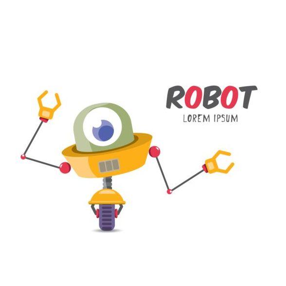 Funny robot cartoon vectors set 20