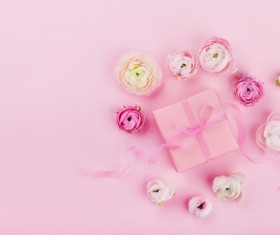 Gift box with pink background with flowers HD picture