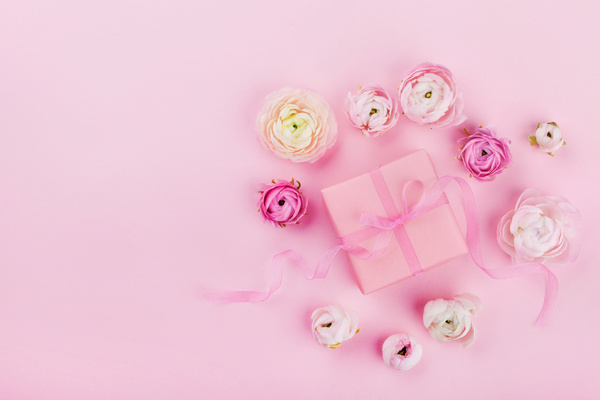 gift box with pink background with flowers hd picture free