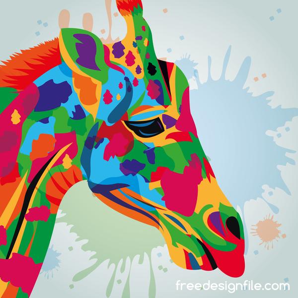 Giraffe hand drawn watercolor vector