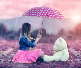 Girl pet Bear umbrella HD picture