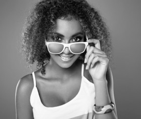 Girl with sunglasses black and white photo