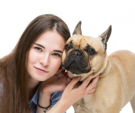 Girl with the French Bulldog Stock Photo 01