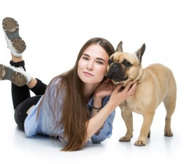 Girl with the French Bulldog Stock Photo 02
