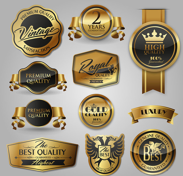 Glass texture golden labels luxury vector
