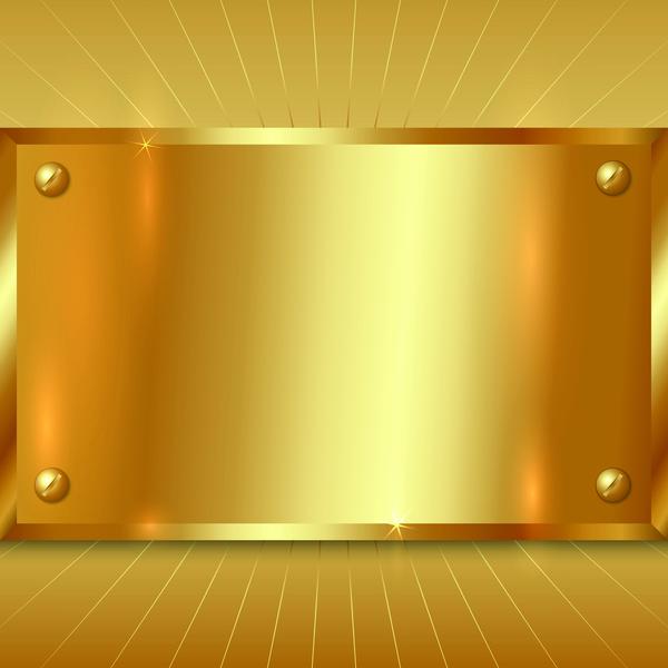 gold metal board background vector vector background