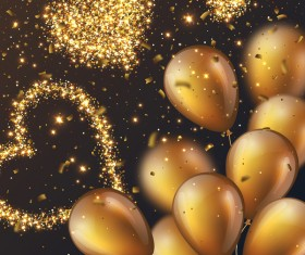 Golden balloons with heart and confetti vector