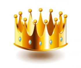 Golden crown with gem vector illustration 01