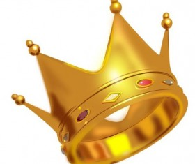 Golden crown with gem vector illustration 02
