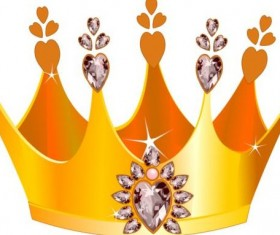 Golden crown with gem vector illustration 03