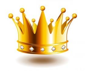 Golden crown with gem vector illustration 04