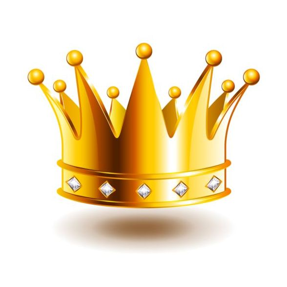 Golden crown with gem vector illustration 04