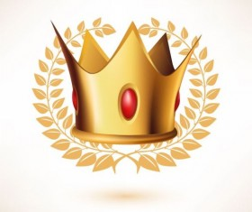 Golden crown with laurel and red gem vector