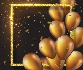 Golden frame with golden balloon and confetti vector 01