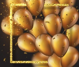 Golden frame with golden balloon and confetti vector 02