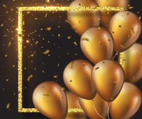 Golden frame with golden balloon and confetti vector 03