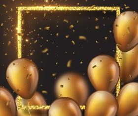 Golden frame with golden balloon and confetti vector 04