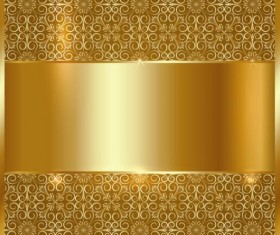 Golden metal board with floral deco background vector