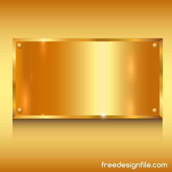 Golden metal with abstract wavy background vector 03