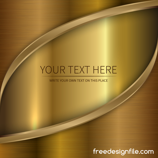 Golden metal with abstract wavy background vector 04