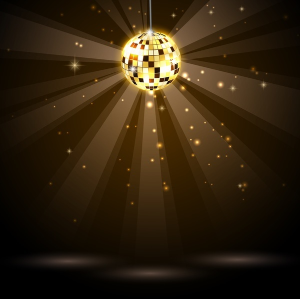 Golden neon ball with disco background vector