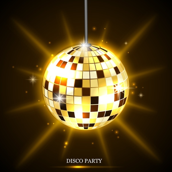 Golden Neon Ball With Disco Party Background Vector