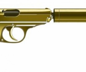 Golden pistol with silencer vector