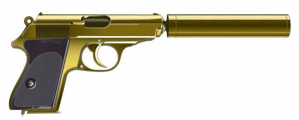 Golden pistol with silencer vector