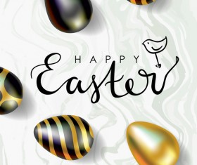 Golden with black easter egg and sale background vector 01