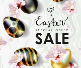 Golden with black easter egg and sale background vector 02